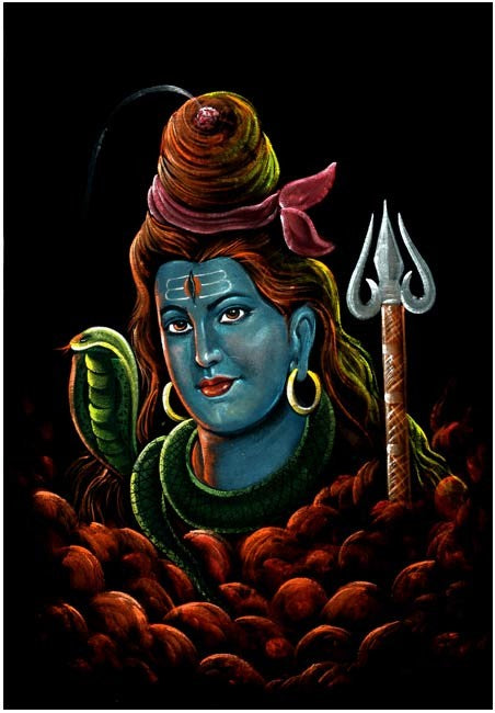 Gangadhar Shiva - Hand Painting on Velvet