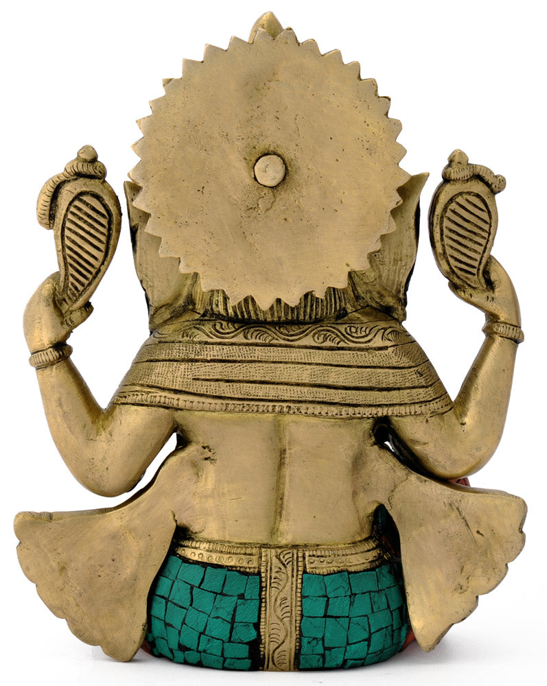 Hindu God Ganesha Brass Statue Religious Gajakaran  Carved Sculpture 4773