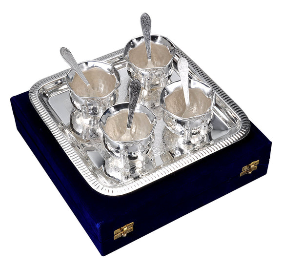 Silver Plated Dessert Bowl Cup Gift Set with Tray
