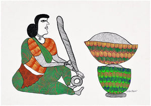 Woman Grinding Spices for Meal - Gond Painting