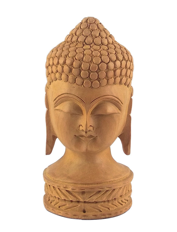 Gautam Buddha Carved Wooden Head