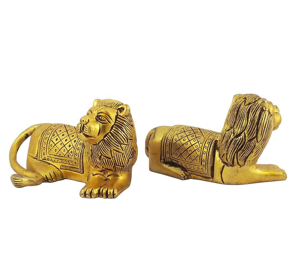 Brass Seated Lion Pair Statue