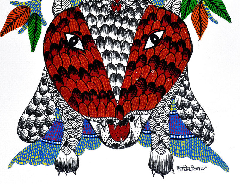 """Tigers"" - Gond Tribal Painting"