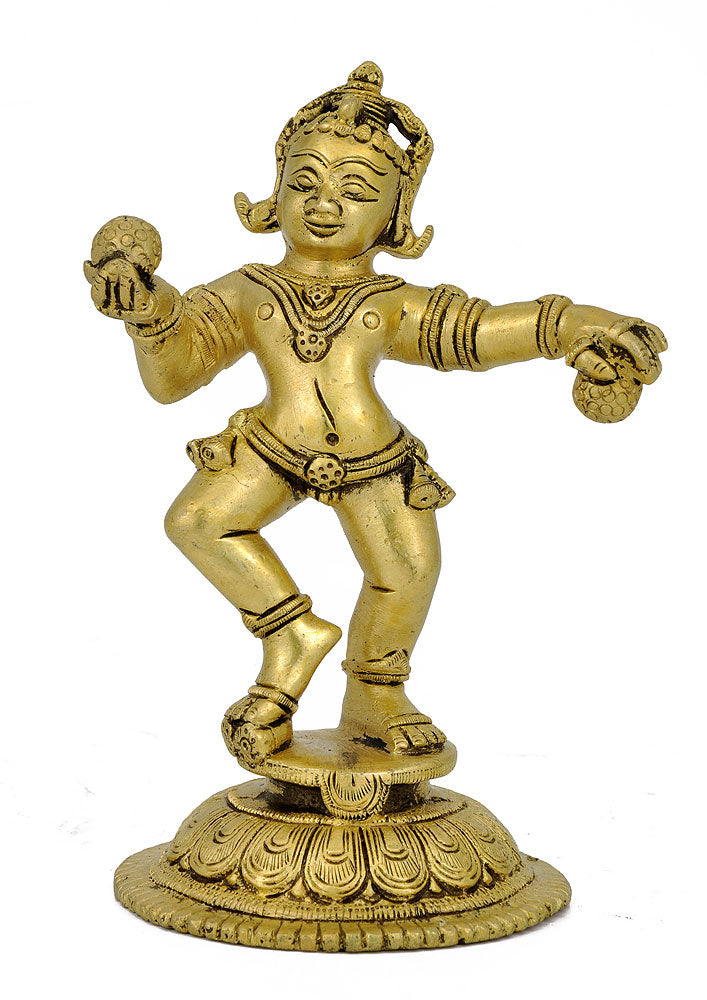 Lord Krishna Loves Ladoo - Brass Statue