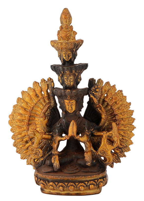 Tibetan Buddhist Deity Thousand-Armed Avalokiteshvara Brass Statue