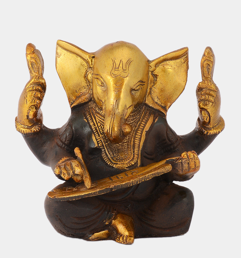 Lord Ganesha Write Mahabharata Brass Statue in Brown Finish