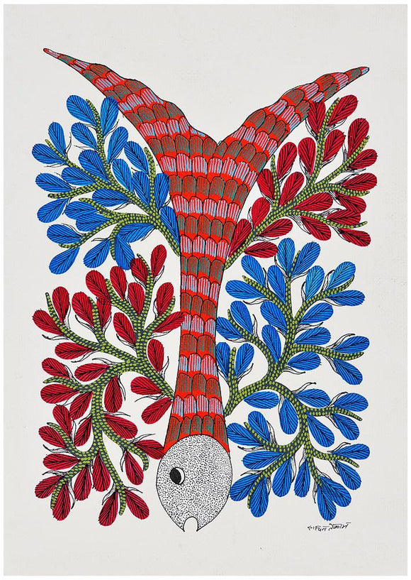 Coral and Fish Gond Painting