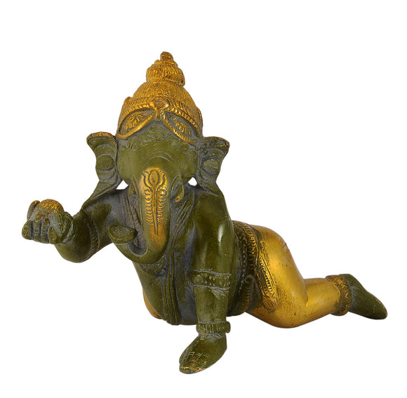 Antique Green Finished Crawling Laddu Ganesha Brass Statue