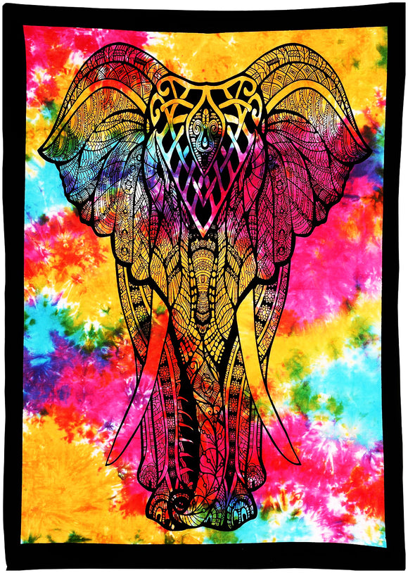 Colorful Tie Dye Elephant Cotton Tapestry Wall Hanging