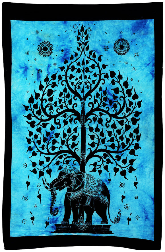 Tree of Life with Elephant Tie Dye Cotton Tapestry Wall Hanging