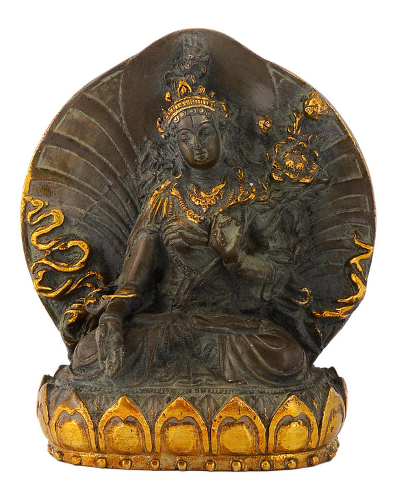 Tibetan Goddess Green Tara Antique Finish Brass Sculpture
