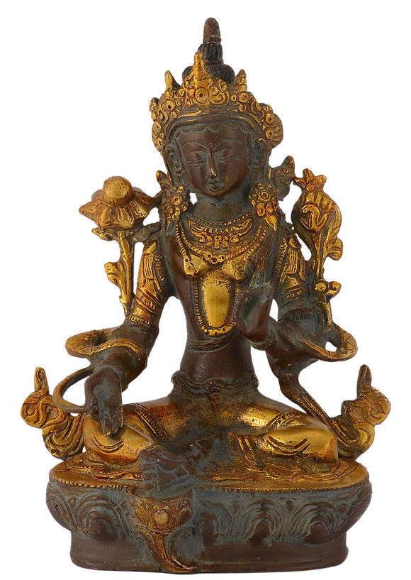 Seated White Tara Tibetan Goddess Antique Finish Brass Sculpture