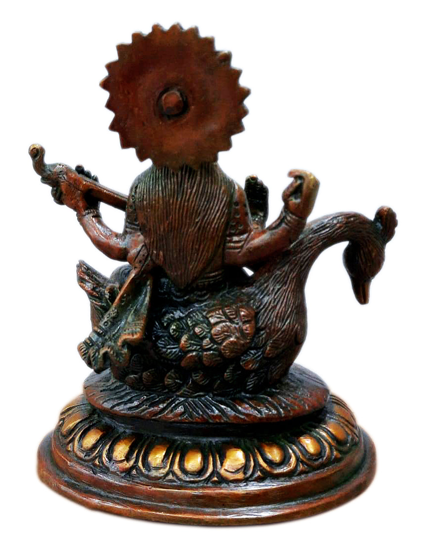 Devi Saraswati Seated on Swan Brass Statue