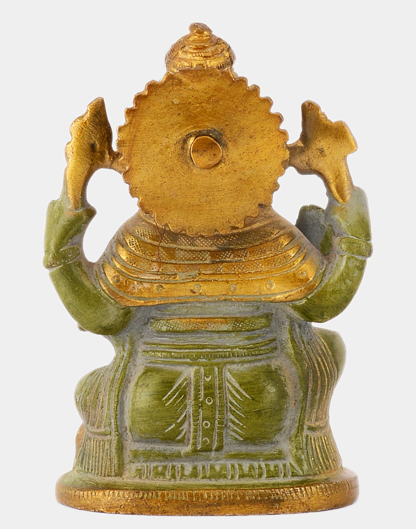 Hindu Deity Gajamukha Ganesha Brass Statue in Green Finish