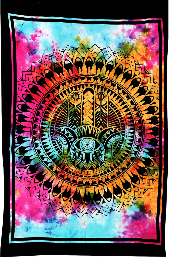 Hamsa Hand Batik Print Hand of god Tapestry Wall Hanging