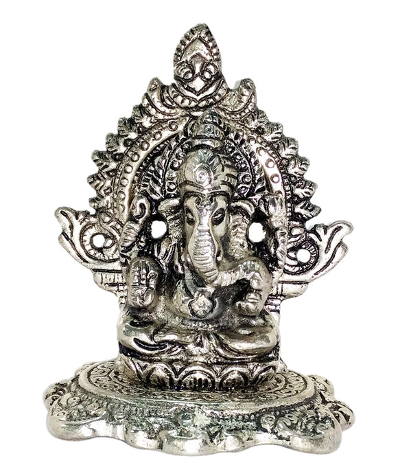 Lord Ganpati Deva - White Metal Silver Plated Ganesh Showpiece Idol