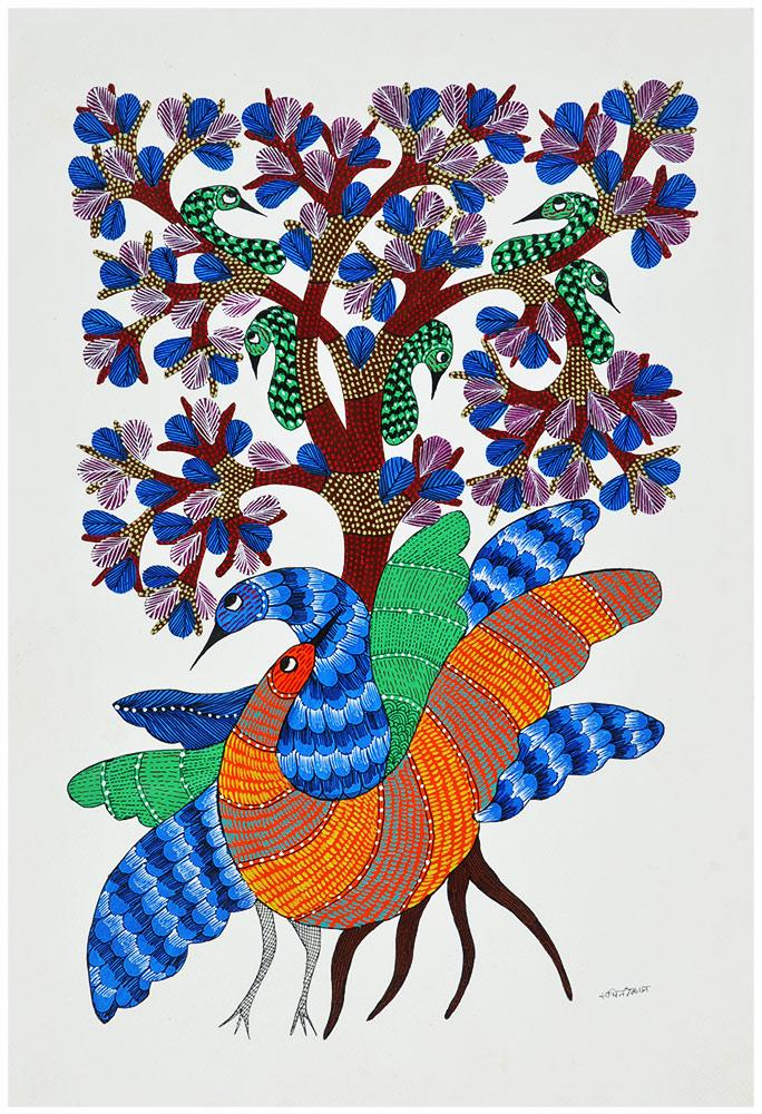 Jovial Peacocks Gond Painting