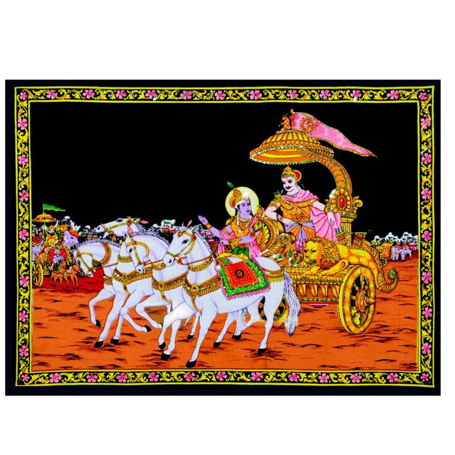 Krishna & Arjuna Mahabharata Gita Upadesa Cotton Cloth with Sequin Work Tapestry