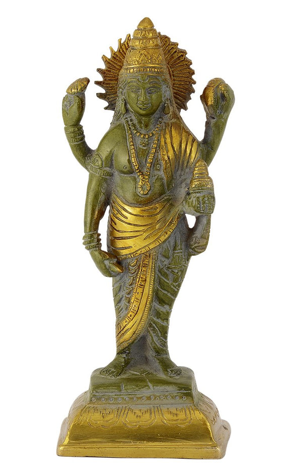 Lord Dhanvantari in Antique Green Finish