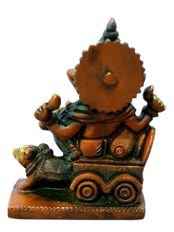 Lord Ganesha Seated on Mouse Chariot Brass Statue