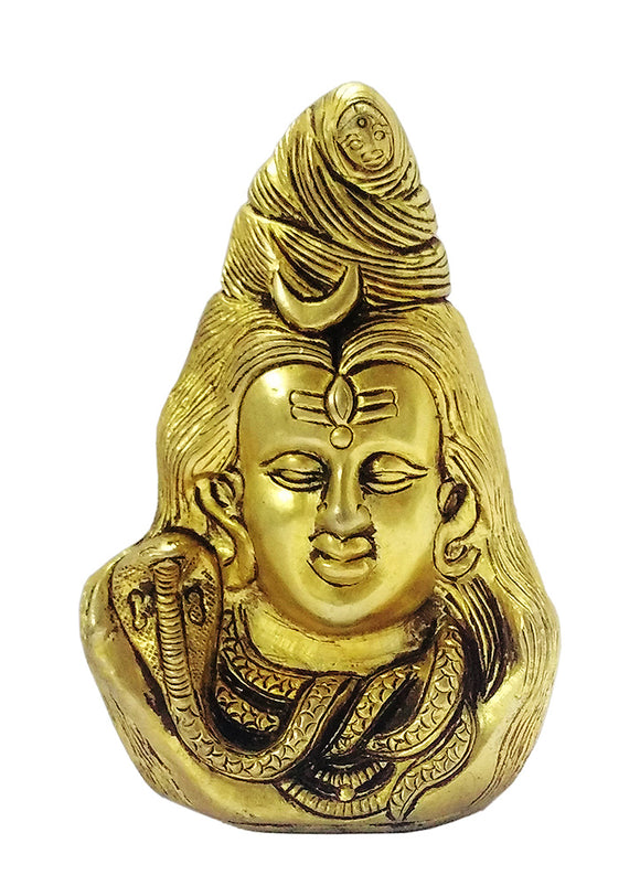 Lord Shiva Brass Head - Hindu Religious Idol
