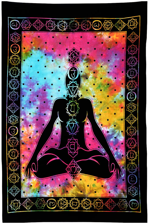 Yoga Meditation Seven Chakra Tie Dye Hippie Cotton Tapestry