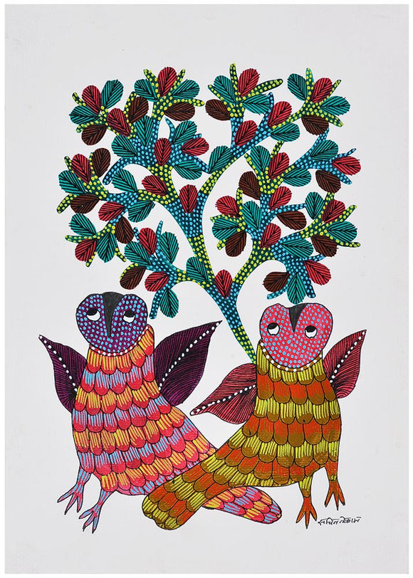 Owls at Night Gond Painting