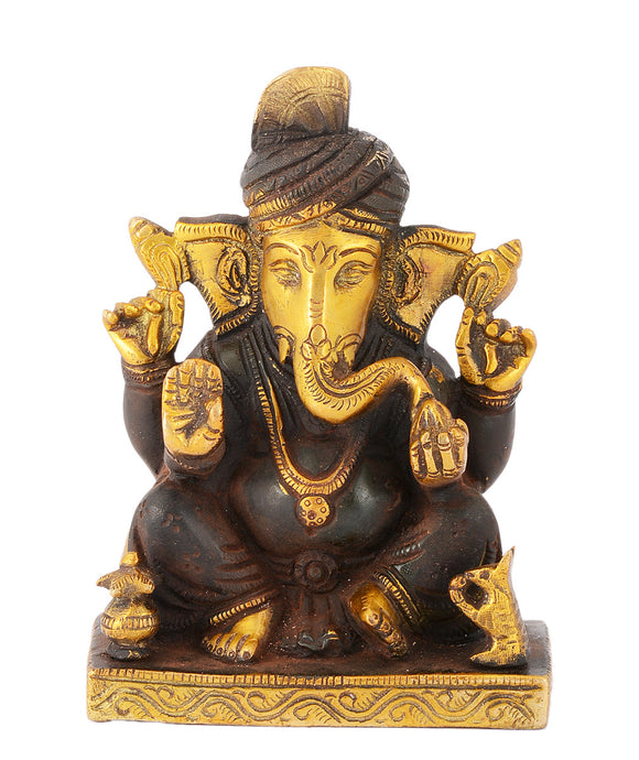 Vighnaharta Lord Ganesha Brass Statue in Brown Finish