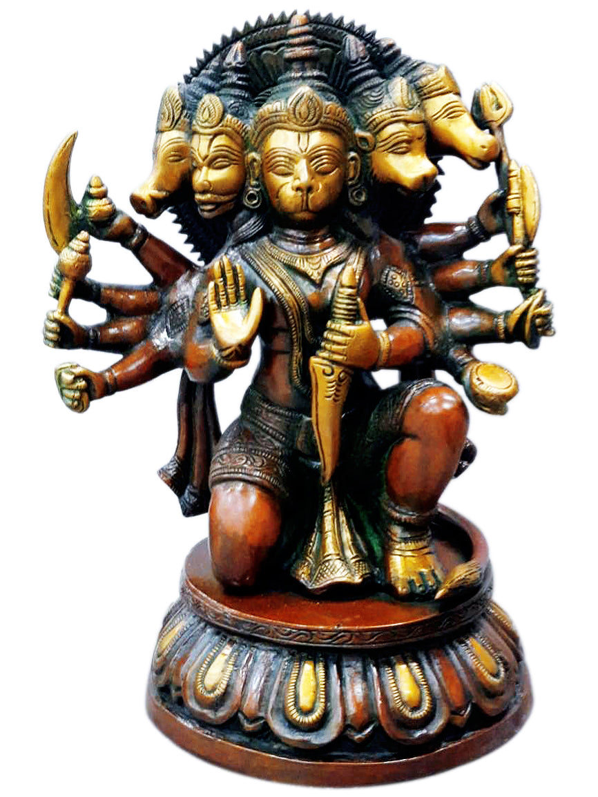 Hindu God Panchmukhi Hanuman Brass Sculpture