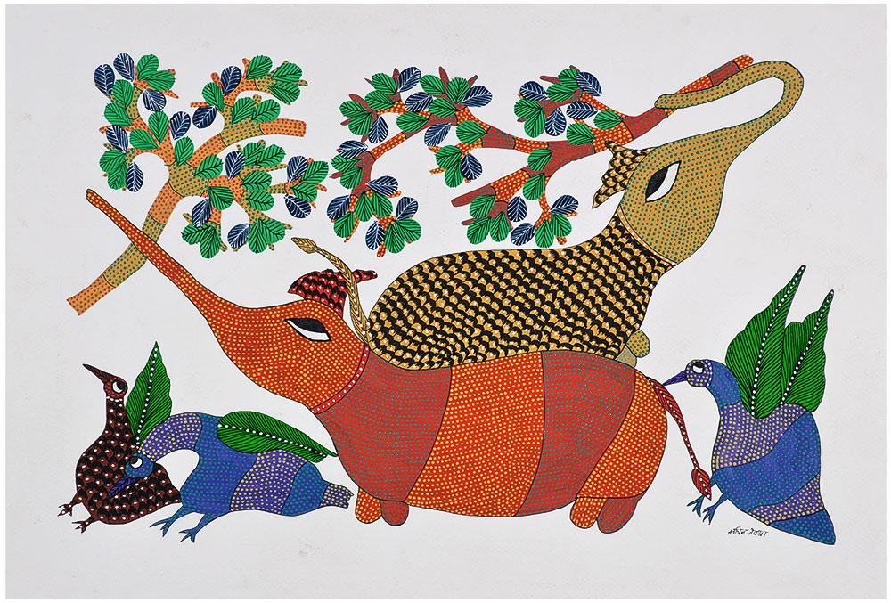 Playful Elephants Gond Paintings