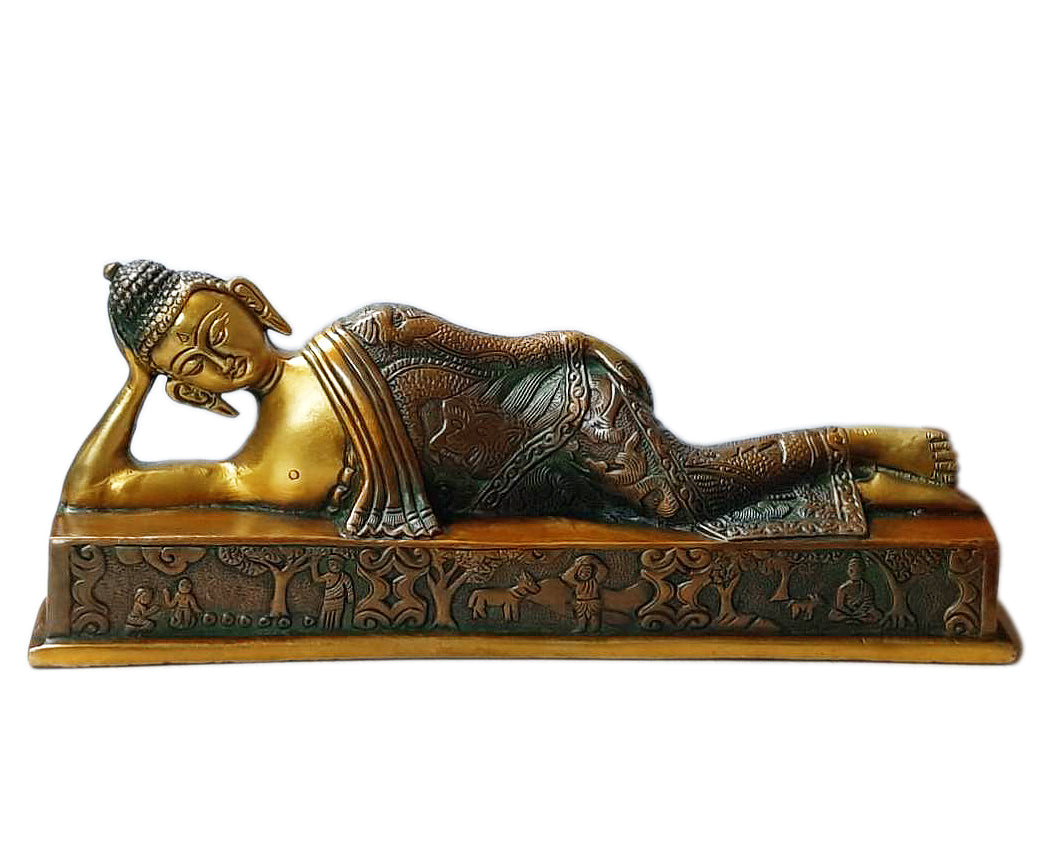 Sleeping Buddha Collectible Brass Sculpture