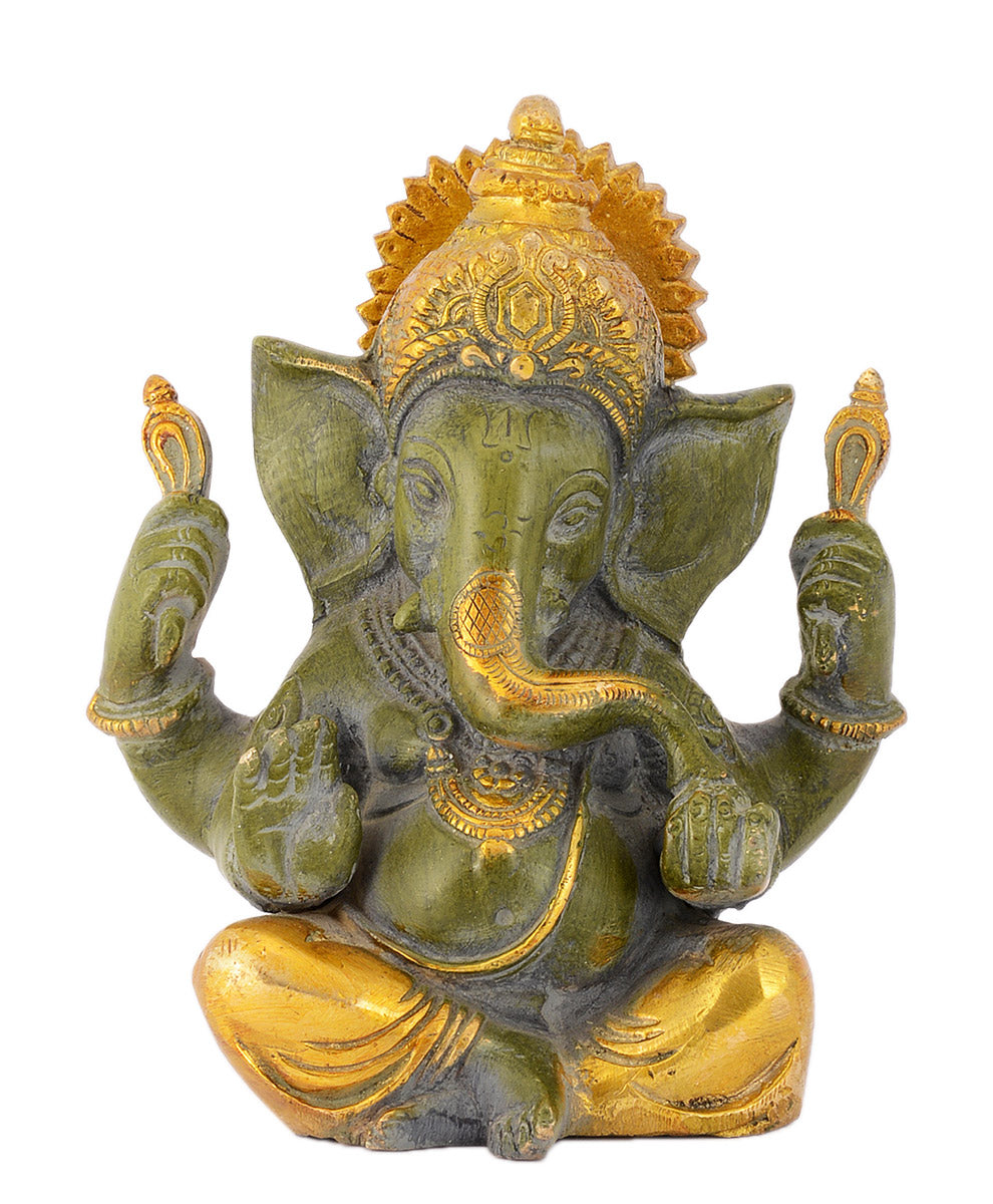 Lord Vinayaka Brass Sculpture in Green Finish