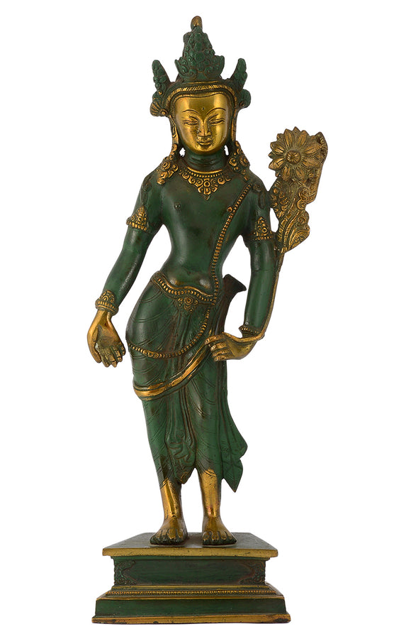 Large Standing Goddess Tara Antique Green Finish Brass Statue