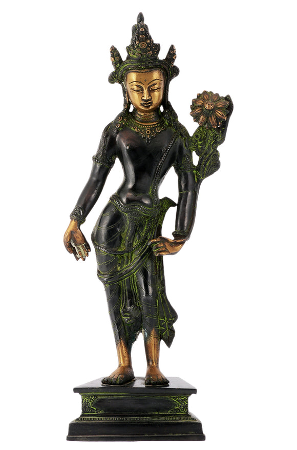 Large Standing Goddess Tara Antique Black Finish Brass Statue for Home Decorative Showpiece