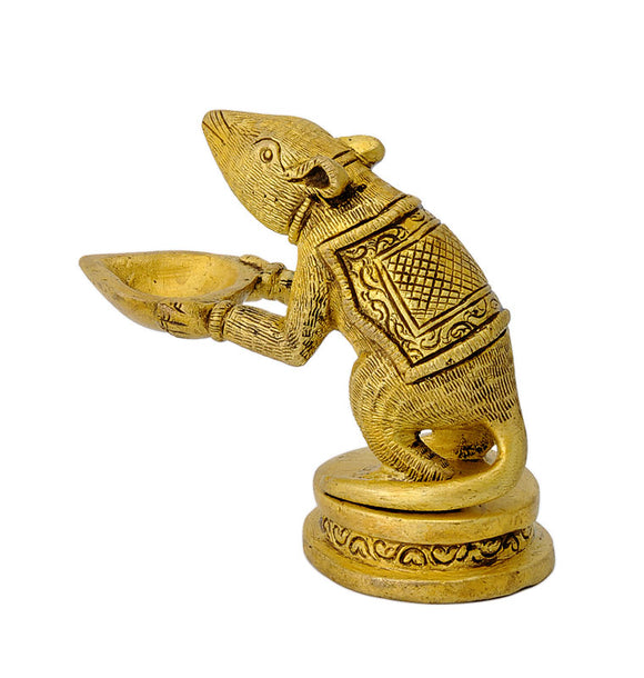 Lord Ganesha's Mount 'Mouse' Holding Brass Lamp