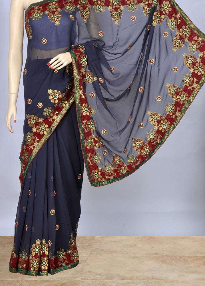 Stylish Blue Color Embroidery Saree