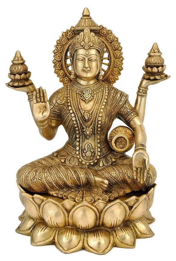 Goddess Lakshmi Seated on Lotus - Brass Statue