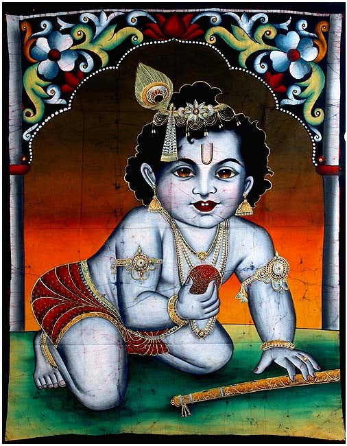 Bala Krishna with Sweet Ball - Batik Painting
