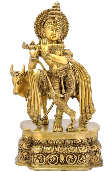 "Lord Krishna with Cow 3312 Large Statue 20"" High"