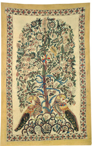 Kalamkar Painting - Tree of Life with Peacock Pair 4791