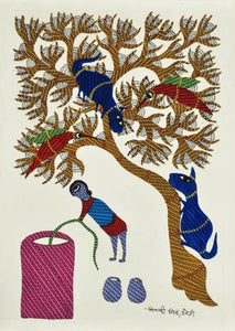 'Village Afternoon' Gond Painitng