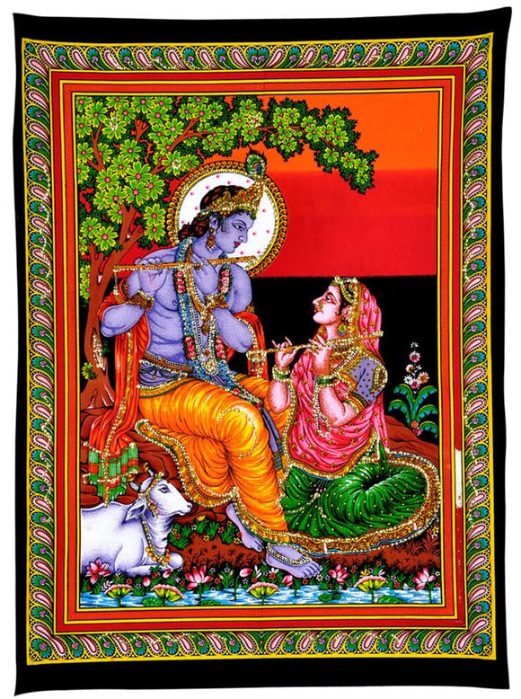 Lord Krishna Playing Flute with Radha Sequin Work Cotton Painting