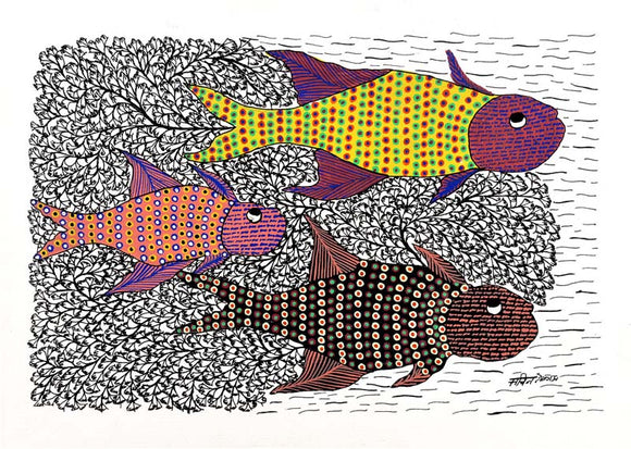 Fishes - Gond Folk Art