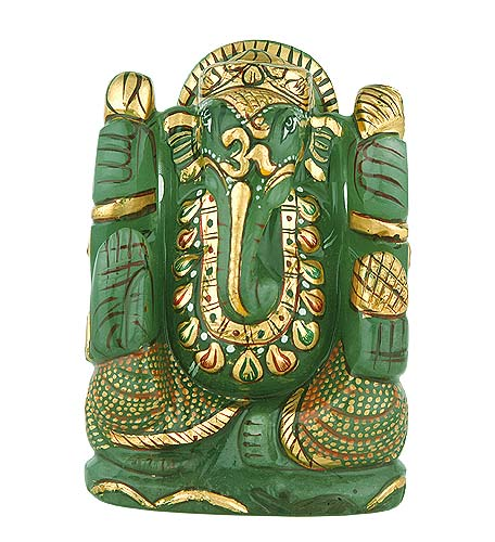 God Ganesha - Painted Aventurine Statue