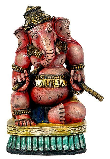 Ganesha with Dandia Sticks - Wood Carving