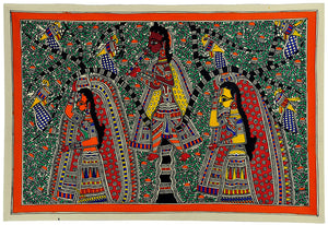 Lord Krishna Teases The Maidens - Mithila Art Painting