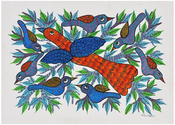 Enchanting Birds Gond Painting