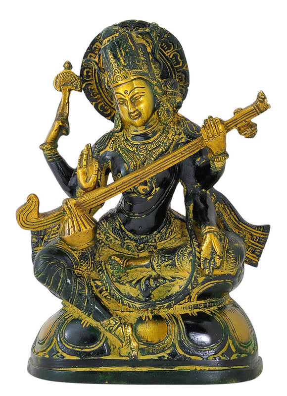 Gentle Mother Saraswati - Brass Statuette