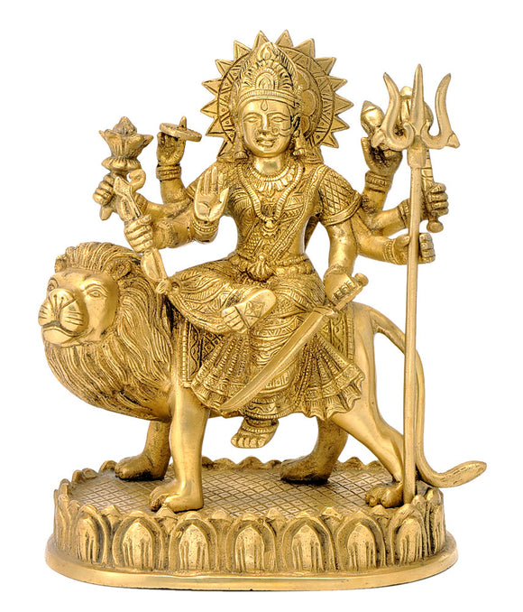 Beautifully Carved Durga Maa Brass Murti