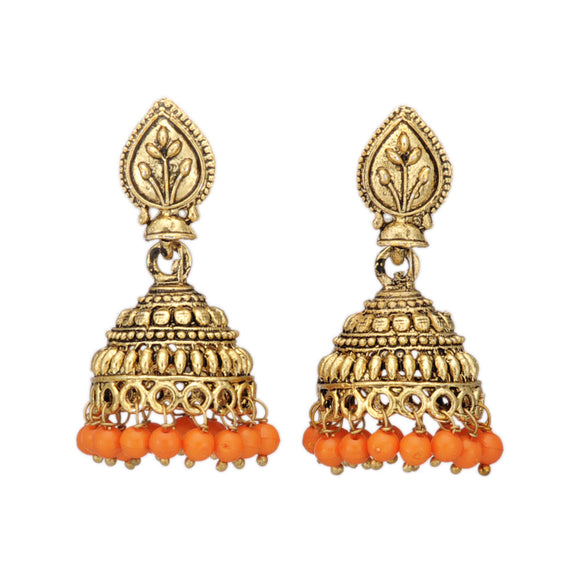 Golden Jhumki Earring Embellished with Saffron Beads
